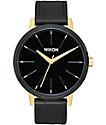 Nixon Kensington Leather Gold, Black & White Watch