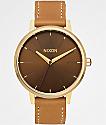 Nixon Kensington Leather Light Gold & Manuka Watch
