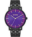 Nixon Porter All Black & Purple Analog Watch
