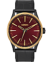 Nixon Sentry 38 Leather Matte Black, Gold, & Burgundy Watch