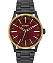 Nixon Sentry 38 SS Matte Black, Gold, & Burgundy Watch