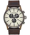 Nixon Sentry 42 Leather Bronze & Gunmetal Chronograph Watch