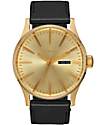 Nixon Sentry Gold & Black Leather Watch
