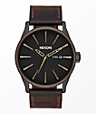Nixon Sentry Leather Black, Brown & Brass Analog Watch