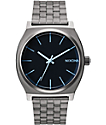 Nixon Time Teller Gunmetal & Blue Crystal Watch