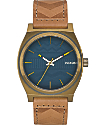 Nixon Time Teller Leather Brass & Navy Watch