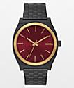 Nixon Time Teller Matte Black, Gold, & Burgundy Watch