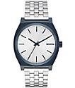 Nixon Time Teller Navy & Silver Analog Watch