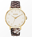 Nixon x Amuse Society Arrow Leather Gold & Taupe Watch