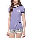 Obey Club Script Blue Violet Ringer T-shirt