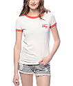 Obey Club Script Creme & Red Ringer T-shirt
