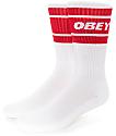 Obey Cooper II White & Red Crew Socks