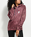 Obey Creeper Static Burgundy Tie Dye Hoodie