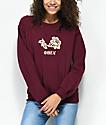 Obey Flower Burgundy Crew Neck Sweatshirt