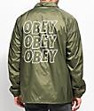 Obey Jumble Lofi Army Green Coaches Jacket