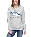 Obey Note Script Heather Grey Womens Crew Sweatshirt