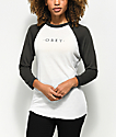 Obey Novel Cream & Graphite Grey Baseball T-Shirt