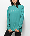 Obey Novel Teal Boxy Long Sleeve T-Shirt