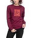 Obey Rose Grid Burgundy Long Sleeve T-Shirt