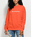 Obey Static Worldwide Orange Crew Neck Sweatshirt