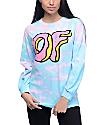 Odd Future OF Donut Logo Blue & Pink Tie Dye Long Sleeve T-Shirt