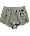 Olive Tulip Hem Pom Trim Shorts