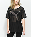 PUMA Dancer Drapey Black Mesh T-Shirt