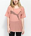 PUMA Dancer Drapey Cameo Brown Mesh T-Shirt