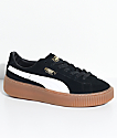 PUMA Suede Platform Black, White & Gum Shoes