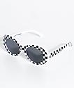 Petals & Peacocks Nevermind White Checkerboard Sunglasses