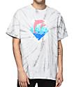 Pink Dolphin Waves Script White Tie Dye T-Shirt