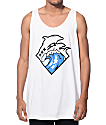 Pink Dolphin Waves Tide White Tank Top