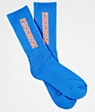Psockadelic Classic Neon Blue & Orange Crew Socks