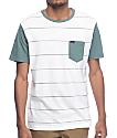 RVCA Change Up White & Green Stripe T-Shirt