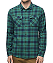 RVCA That'll Work Teal Flannel Button Up Shirt