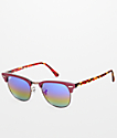 Ray-Ban Clubmaster Burgundy & Rainbow Sunglasses
