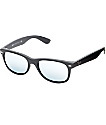 Ray-Ban New Wayfarer Black Rubber Silver Mirror Sunglasses