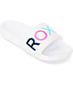 Roxy Slippy White Slide Sandals