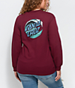 Santa Cruz Wave Dot Burgundy Long Sleeve T-Shirt