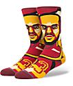 Stance X NBA LeBron James Mosaic Burgundy, Black  & Gold Crew Socks