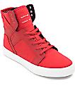 Supra Boys Skytop Red & White Skate Shoes