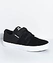 Supra Boys Stacks II Black, White, Hook & Loop Fastened Skate Shoes