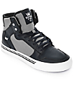 Supra Boys Vaider Black Leather & Grey Canvas Skate Shoes