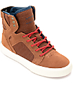 Supra Skytop Munk & Red Suede Boys Shoes