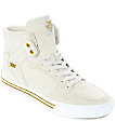 Supra Vaider Off-White Suede & Canvas Skate Shoes