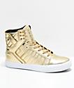Supra x Modelo Skytop Especial Gold & White Skate Shoes