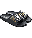 TheWhiteBrand Beach Please Black & Gold  Slide Women's Sandals