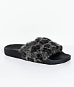 TheWhiteBrand Grey Leopard Fur Slide Sandals