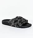 TheWhiteBrand Grey Leopard Fur Slide Sandals
