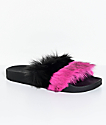 TheWhiteBrand Pink & Black Fur Slide Sandals
